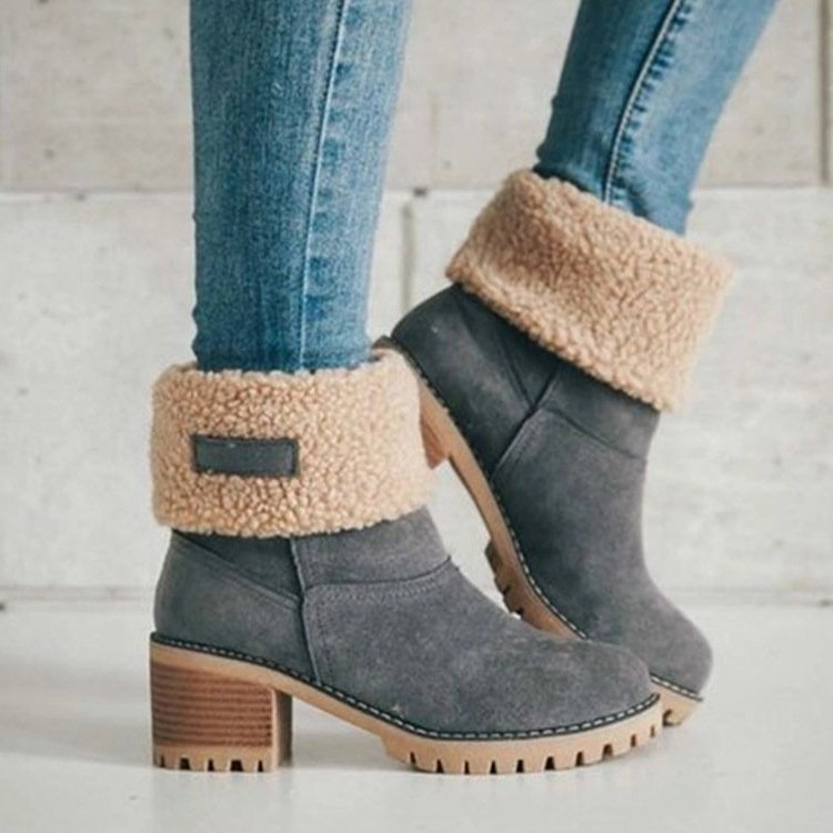 Plus Size Warm Winter Boots Chunky Heel Suede Date Boots For Women
