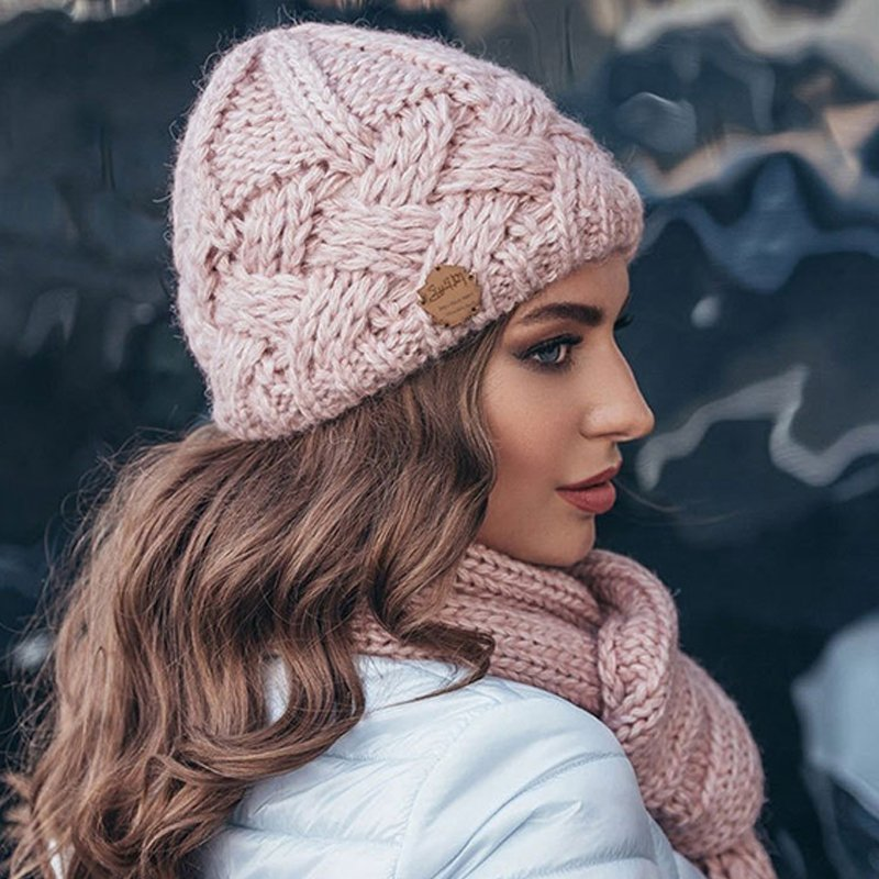 Vintage style diamond lattice thick needle woollen hat