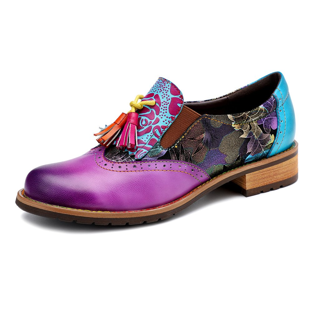Women Retro Purple Slip On Tassel Loafers