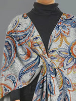 Gray 3/4 Sleeve V Neck Printed Outerwear