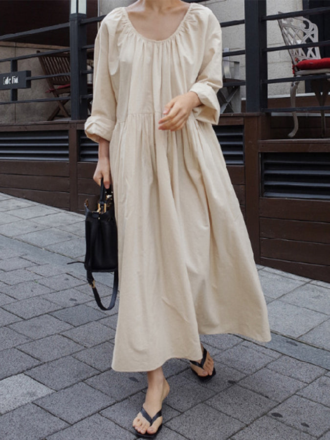 Crew Neck Long Sleeve Plain Work Dresses
