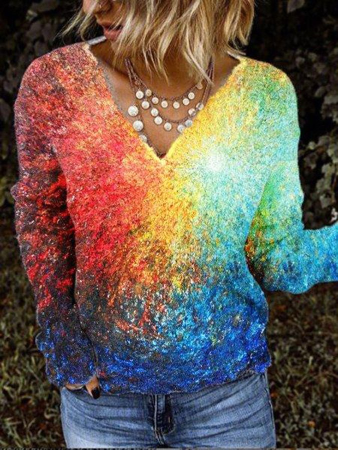 Multicolor Shift Long Sleeve Shirts & Tops
