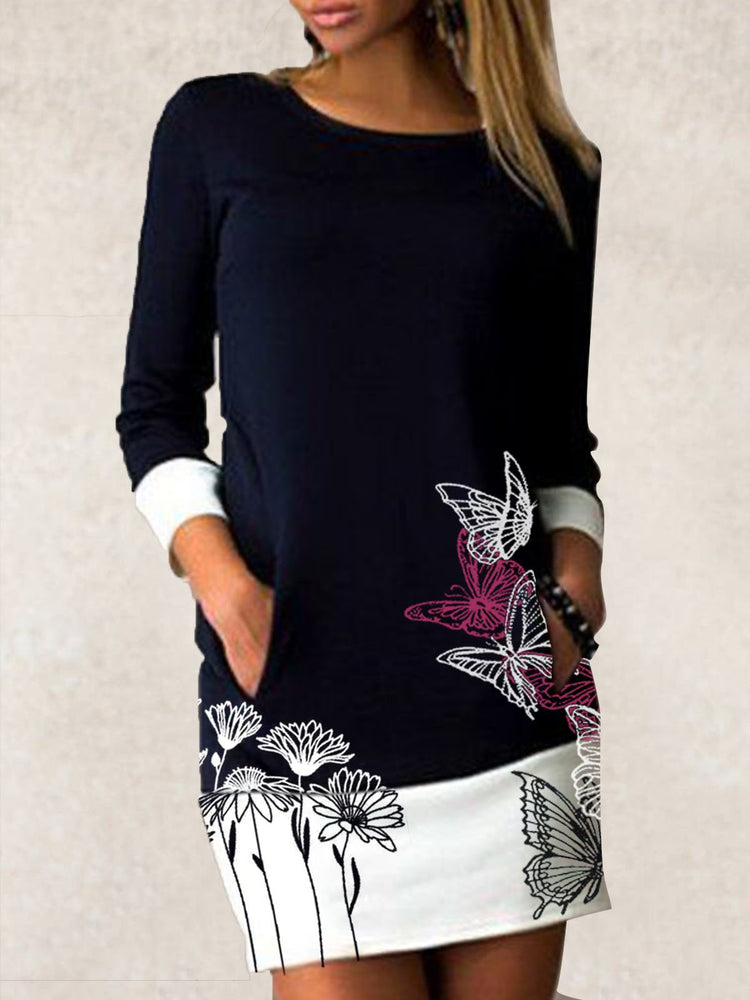 Black Butterfly Long Sleeve Copper Wire Dresses