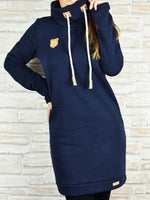 Blue Drawstring Casual Cotton-Blend Dresses