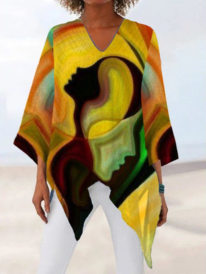Yellow V Neck Casual Printed Abstract Shirts & Tops