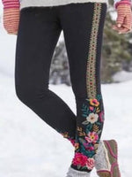 Black Embroidered Casual Cotton-Blend Pants