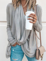 Fall Cowl Neck Asymmetrical Solid Casual T-Shirts