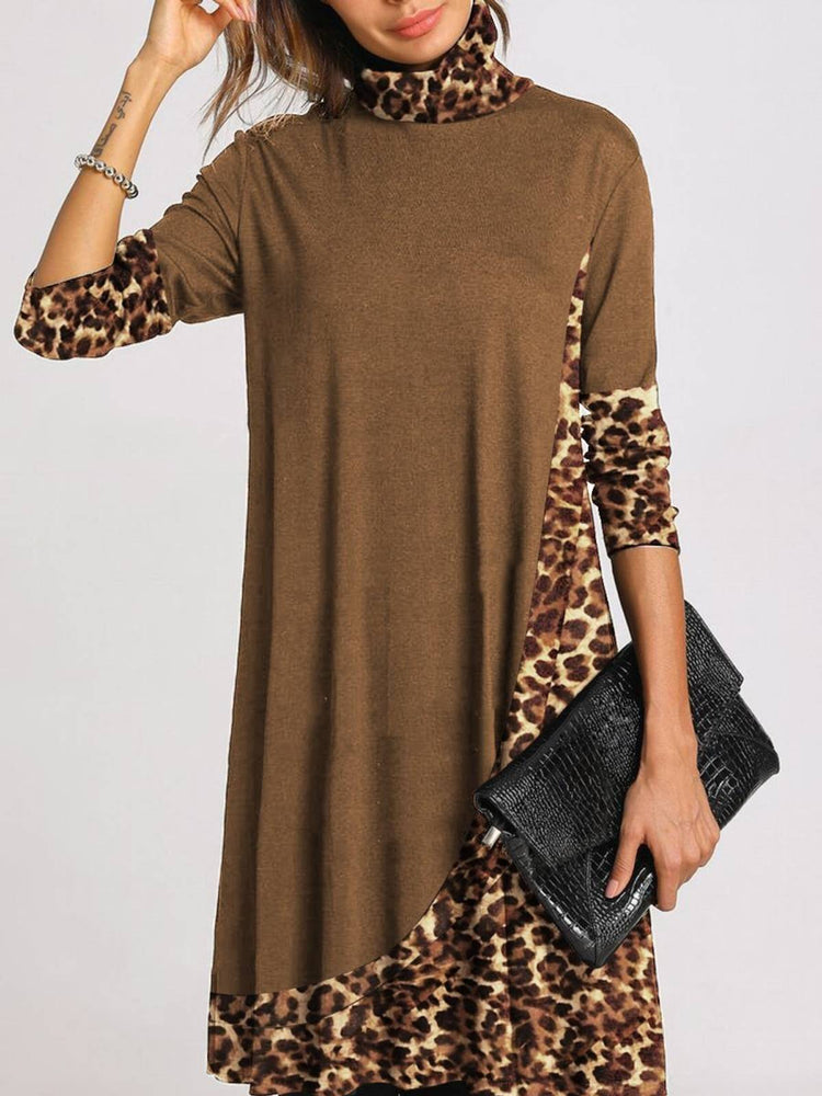 Retro Loose Casual Long Sleeve High Neck Leopard Print Dress