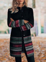 Black Tribal Shift Long Sleeve Outerwear