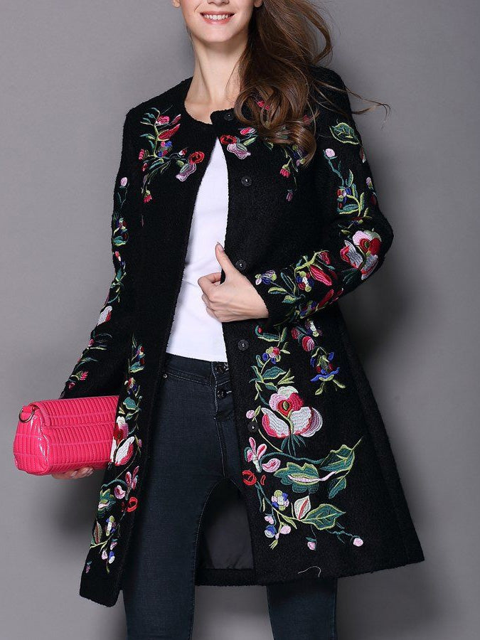 Vintage Embroidered Cashmere Trench Coat
