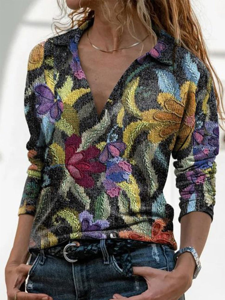 Multicolor Printed Casual Long Sleeve Shirts & Tops