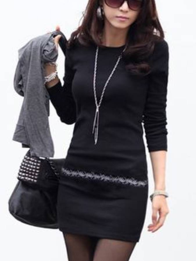 Cotton-Blend Patchwork Crew Neck Long Sleeve Dresses