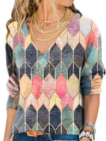 Vintage Color-Block Long Sleeve Cotton-Blend Shirts & Tops