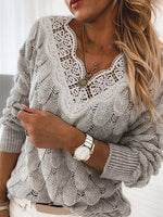 Knitted Long Sleeve Paneled Sweater