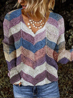 Multicolor Ombre/tie-Dye Casual Knitted Shirts & Tops