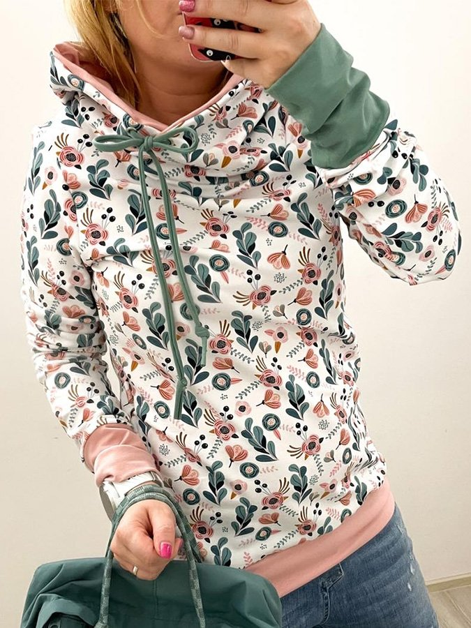 White Long Sleeve Hoodie Floral Printed Sweatshirt