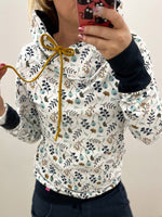 White Long Sleeve Floral Printed Hoodie Sweatshirt