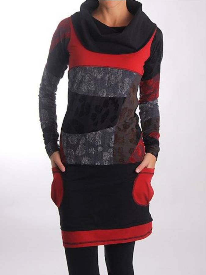 Multicolor Cowl Neck Long Sleeve Dresses