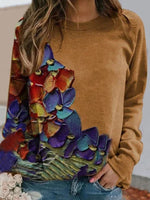 Casual Printed Long-Sleeved Round Neck T-Shirt