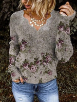 Gray Floral Long Sleeve V Neck Cotton-Blend Shirts & Tops