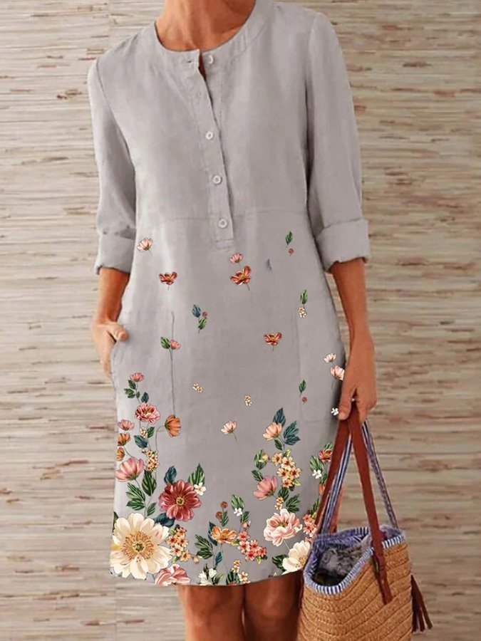 Gray Printed Floral Long Sleeve Midi Dresses