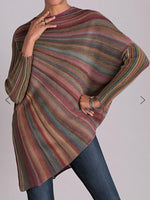Multicolor Abstract Stand Collar Casual Shirts & Tops