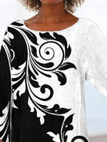 Black Crew Neck Floral Casual Shirts & Tops