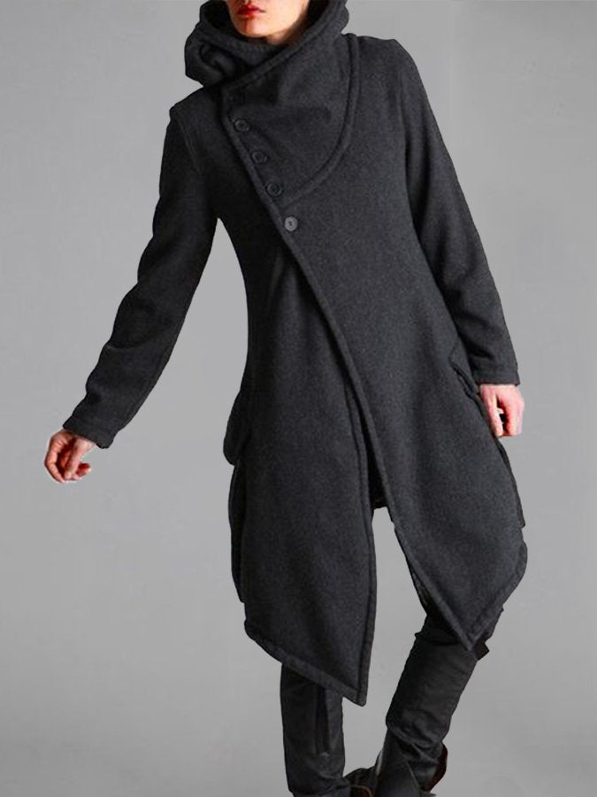 Cowl Neck Casual Long Sleeve Coat