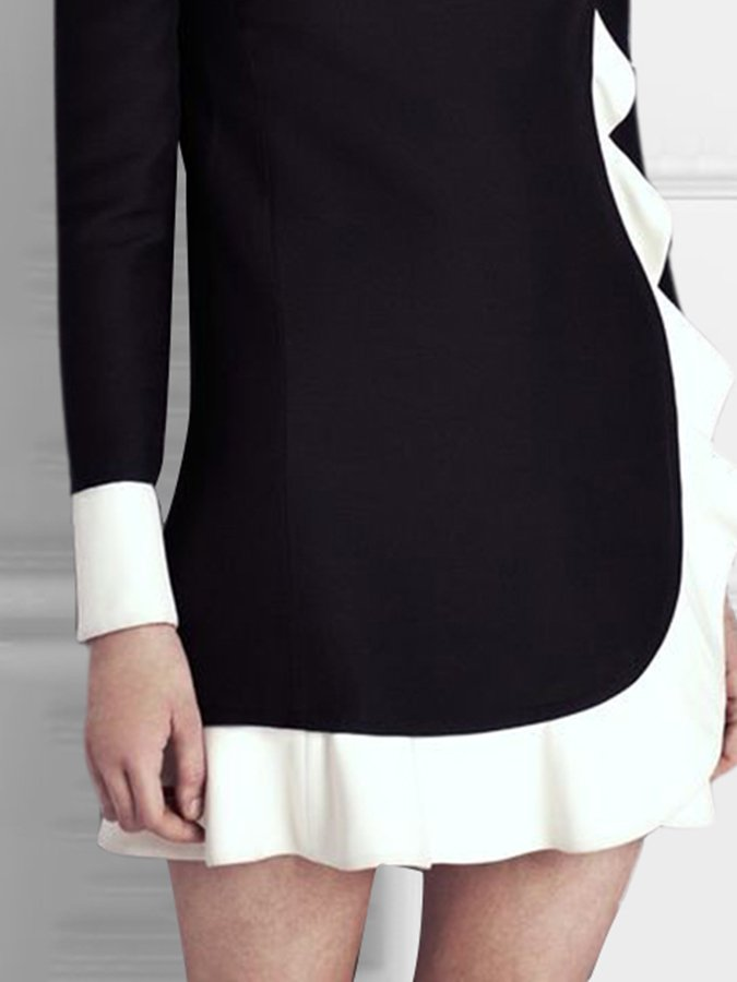 Black Long Sleeve Work Paneled Dresses
