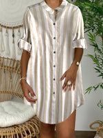 Stand-Up Collar Long-Sleeved Striped Leisure Vacation Cotton And Linen Dress