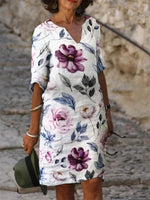 White Half Sleeve Floral Printed Dresses