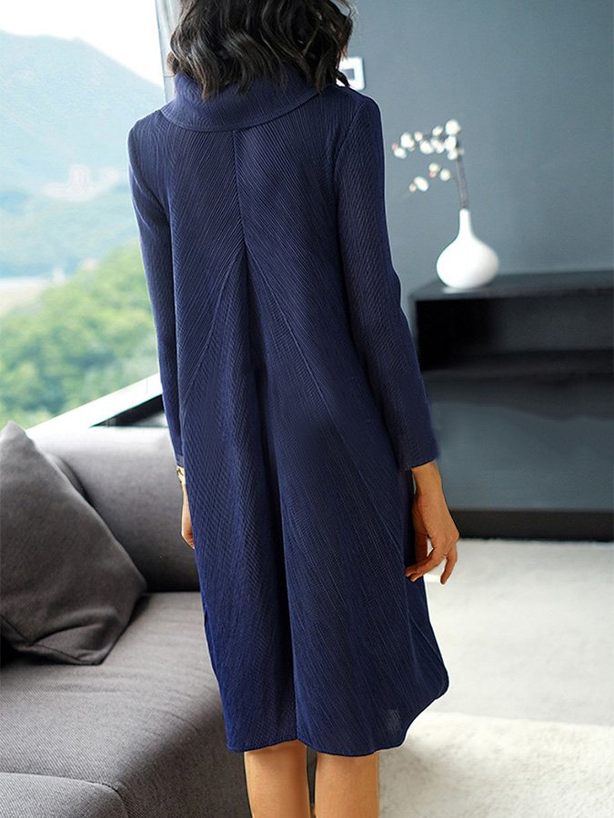 Plain 3/4 Sleeve Shawl Collar Casual Dresses