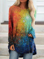 Multicolor Crew Neck Cotton-Blend Casual Ombre/tie-Dye Shirts & Tops