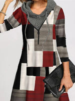 Long Sleeve A-Line Hoodie Plaid Dresses