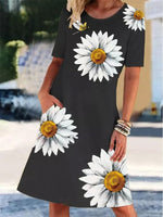 Black Linen Short Sleeve Dresses