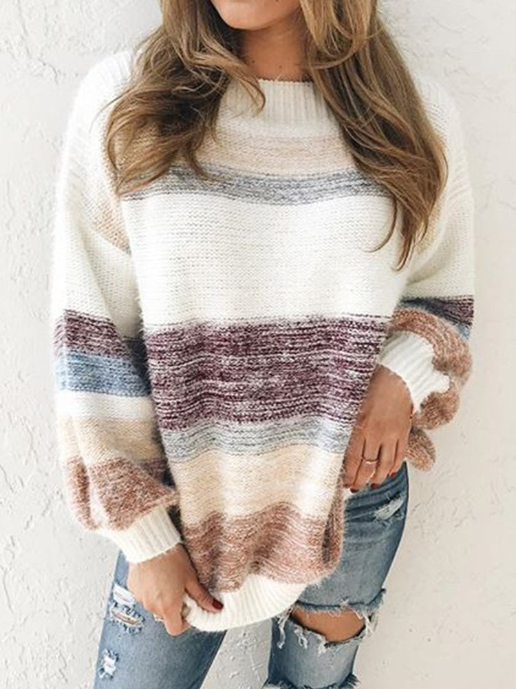 Vintage Multicolor Striped Plus Size Long Sleeve Crew Neck Casual Sweater