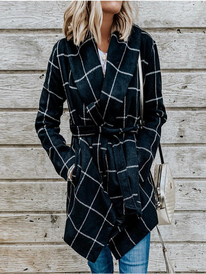 Plaid Print Casual Woolen Coat