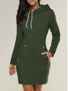 Olive Green Hoodie Casual Pockets Bodycon Dresses