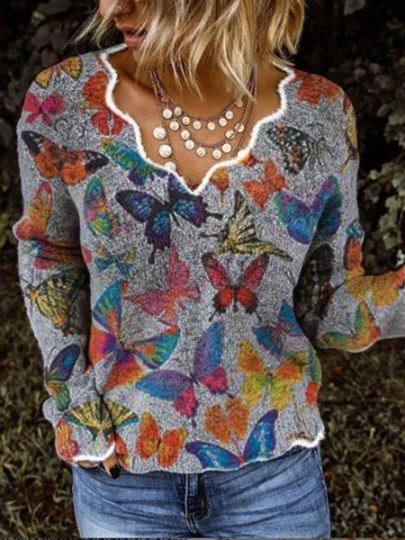Casual Printed Cotton-Blend Long Sleeve Tops