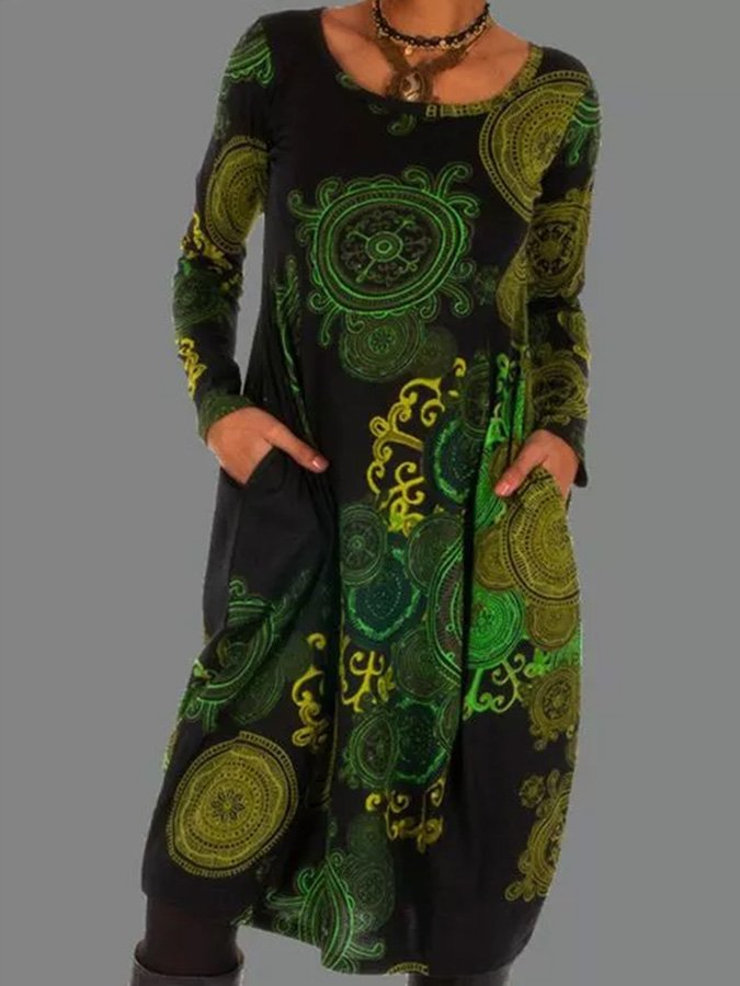 Green Printed Shift Casual Floral Dresses
