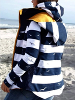 Blue Long Sleeve Stripes Printed Outerwear