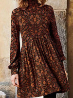 Red Casual Floral Printed Turtleneck Midi Long Sleeves Dresses