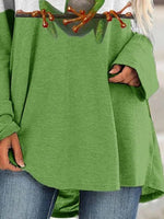 Green Casual Crew Neck Long Sleeve Shift Shirts & Tops