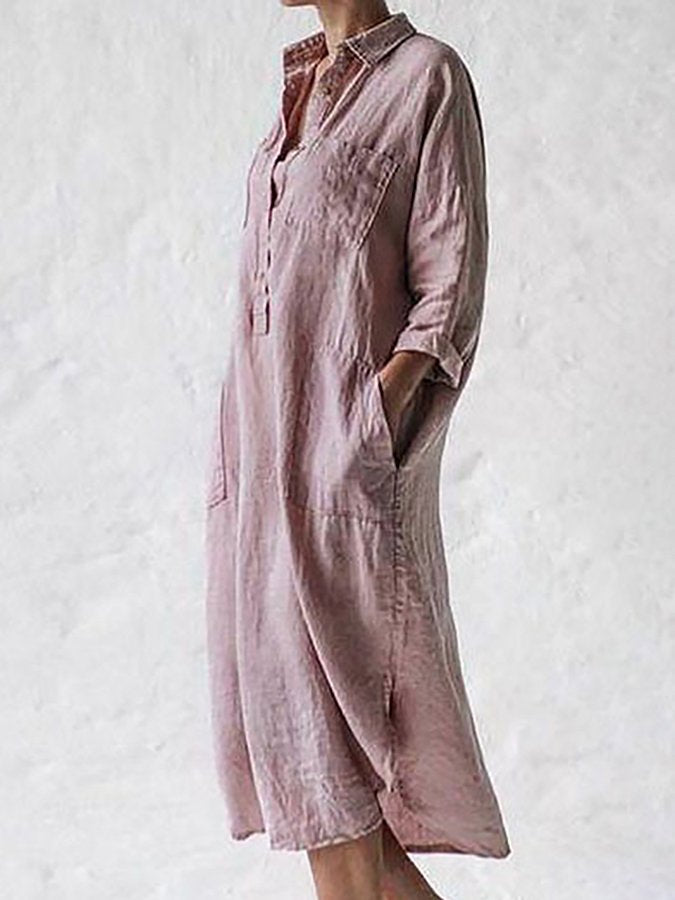 Pink 3/4 Sleeve Casual Dresses