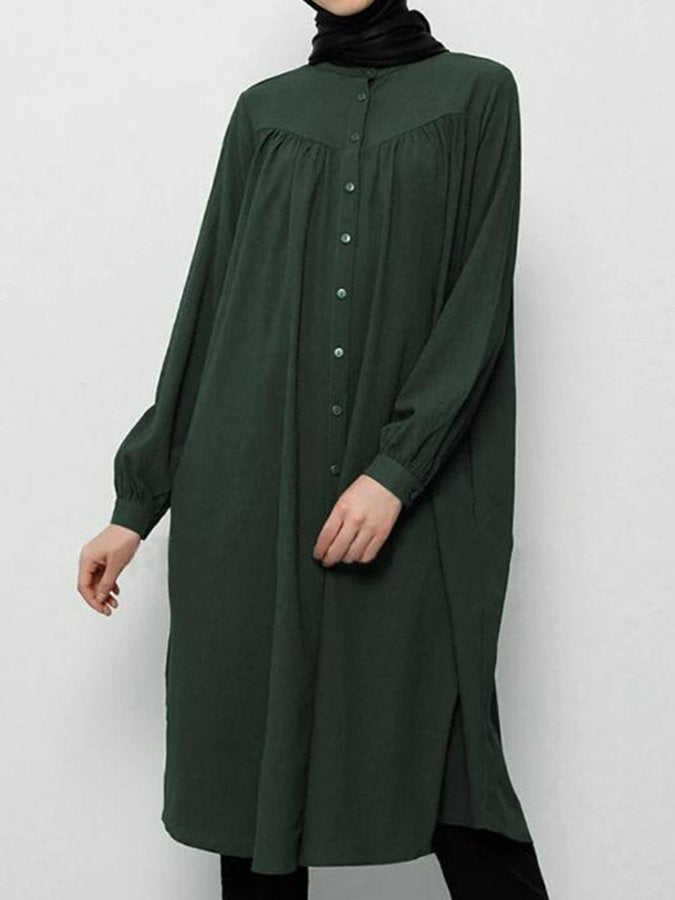 Plain Stand Collar Long Sleeve Casual Vacation Cotton And Linen Dress