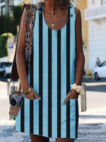 Sheath Striped Sleeveless Dresses
