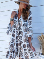 3/4 Sleeve Boho Printed Dresses