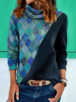 Printed Round-neck Long Sleeve Loose Blouse