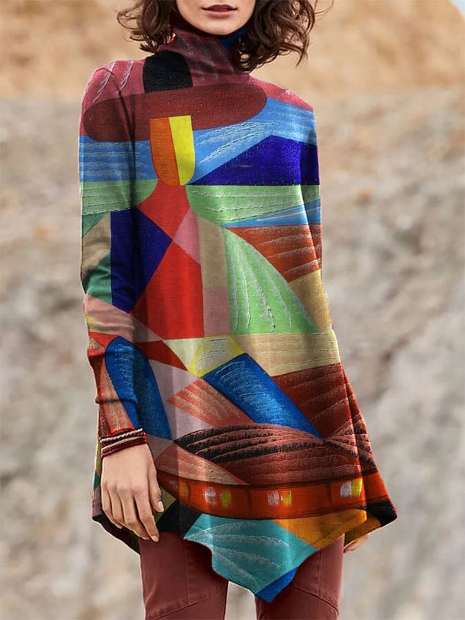 Colorful  Print Long Sleeve Irregular T-Shirt