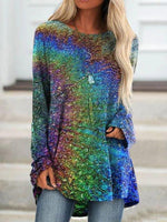Multicolor Shift Casual Long Sleeve Ombre/tie-Dye Shirts & Tops